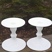 Westmoreland  Bramble/Maple Leaf Milk Glass Candle Holders