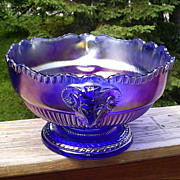 Imperial Ram's Head Carnival Bowl Cobalt Blue