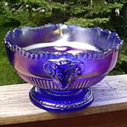 Imperial Ram's Head Carnival Bowl Cobalt Blue