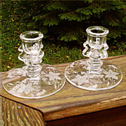 Tiffin US Glass Oneida Etched Candleholders Art Deco