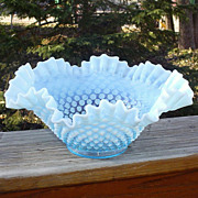 "Fenton Blue Opalescent 9"" Double Crimped Bowl"