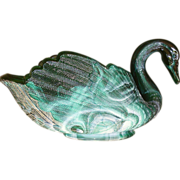 SOLD Imperial Slag Glass Large Swan Green W/Label