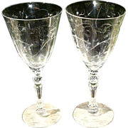 SOLD Fostoria Mulberry Cut  Tall Water Goblets--Two Stems