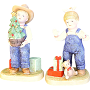 Denim Days It's Christmas #1523 Pair Homco Figurines