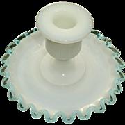 Fenton Aqua Crest Candleholder Scarce #680 Saucer Base