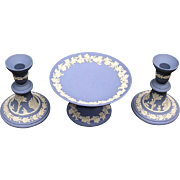 Wedgwood Jasperware Blue Candleholders and Compote Jasper Ware Made in England