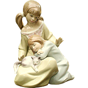 Lladro 1534 Little Sister Figurine Girl w Child & Cat C1987