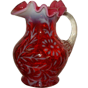 LG Wright Cranberry Daisy & Fern Cream Pitcher