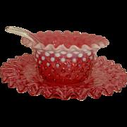 Fenton Cranberry Hobnail Mayo Set Mayonnaise Bowl Liner & Ladle