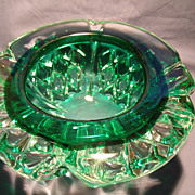 SOLD Heavily Cased Emerald Green Bowl