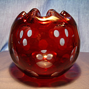 Ruby Cut to Clear Coin Dot  Bowl