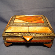 SOLD Vintage Horn Inlay Brass Box
