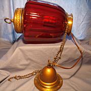 Vintage Ceiling Pendant Light w/ Ruby Shade