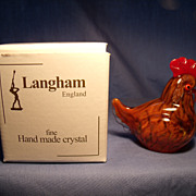 Langham Glass signed Hen Figurine