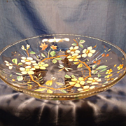 Enameled, footed Bohemian Glass Bowl