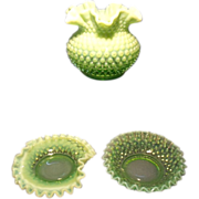 Fenton C. 1940 Opalescent Green -  3 pieces