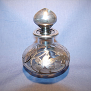 C. 1900 Sterling Overlay Perfume Bottle