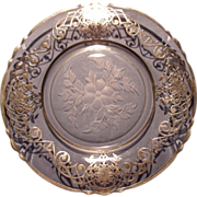 Heisey  Etched Sterling Overlay Plate