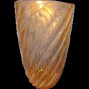 Signed Murano Large Ribbed Vase