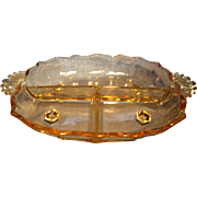 Fostoria Gold Tint Relish Tray
