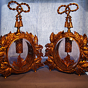 Pair of Ornate Vintage Ormolu and Glass Perfume Bottles
