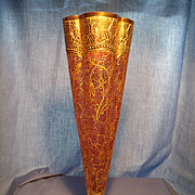 SOLD Cranberry Bohemian  Glass Vase with Intricate Gilding
