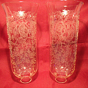 SALE PENDING Pair Colorless Crystal Floral Etch Hurricane Shades