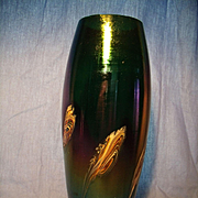 Tall Iridescent Art Glass Vase w/ Applied Swirls
