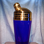 Beautiful Deep Cobalt Glass Cocktail Shaker