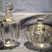 Orrefors Cut Crystal Cologne Bottle & Powder or Trinket  Box