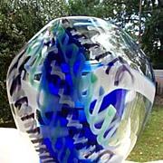 Art Glass Vase with Internal Spirals- Signed