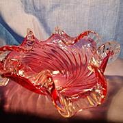 Chalet Glass Cranberry Swirl Bowl