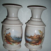 """Pair 12"""" Opal Glass Vases with Hand Painted Seascapes"""