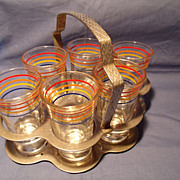 SOLD Set of 6 Depression  Shot glasses in a Chrome Holder