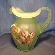 Fenton Painted Pitcher signed S Miller
