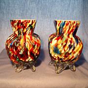 Pr Ribbed Spatter Vases