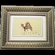 SOLD Vintage Persian Miniature Painting of Camel Khatam Frame Signed - Red Tag Sale Item