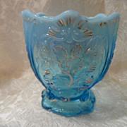 SOLD Blue Opalescent Glass Spooner Elegant