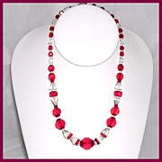 SALE Red Czech Beaded Necklace
