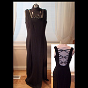 SALE Vintage Black and Rhinestones Evening Dress