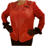 Woman's Red Leather Designer Jacket c. 1980
