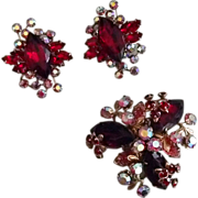Red Rhinestone Set - Earrings and Pin or Pendant