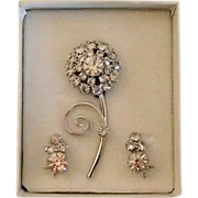 REDUCED Rhinestone Pin and Earrings - Mint in Box