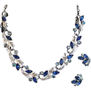 REDUCED Necklace and Earring Set in Bright Blue, Signed