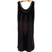 REDUCED Black Crepe Chiffon Hand Beaded Flapper Dress, c. 1925