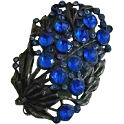 Pewter and Bright Blue Rhinestone Brooch