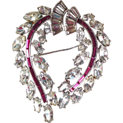 Trifari by Alfred Phillippe Classic Clear and Ruby Rhinestone Brooch