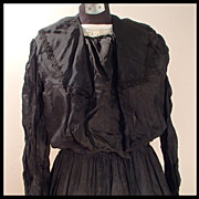 SALE PENDING Late Victorian Black Silk Dress