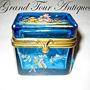 SOLD Dainty mini French enamelled turquoise box