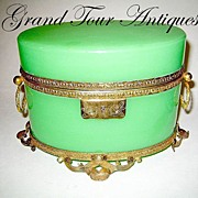 SOLD Large French 19th Century green opaline oval casket